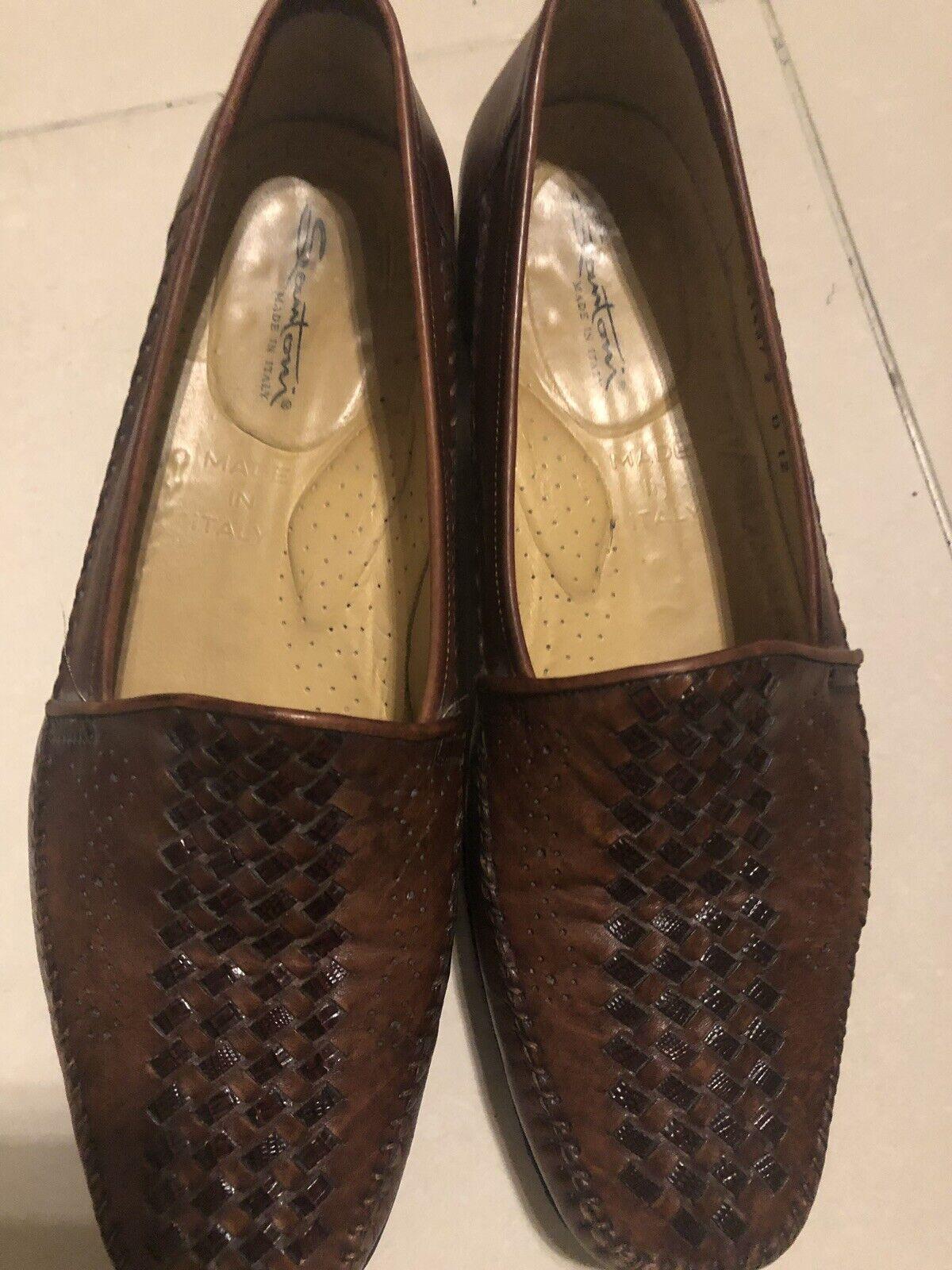 Santoni  Brown Dress shoes Woven Letter Size 12D