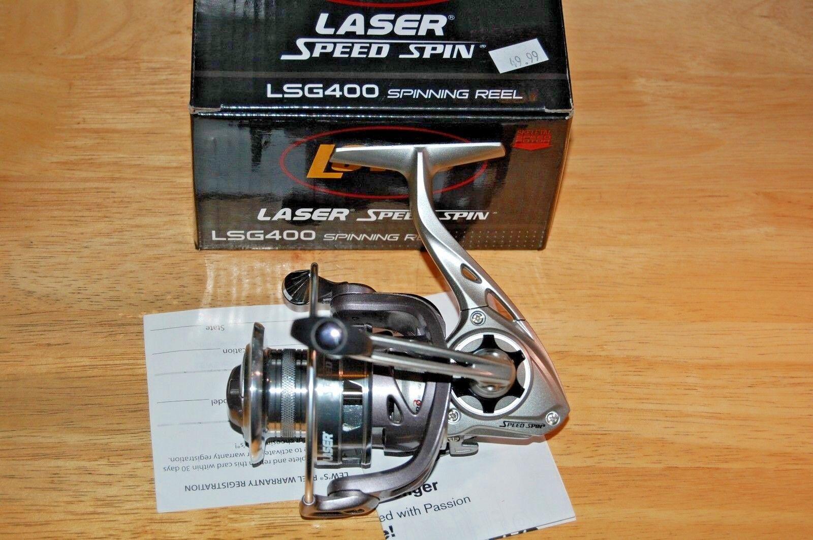 Lews laser speed spin spinning reel lsg400 8 bearings w  skeletal speed redor
