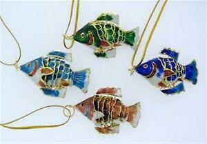 Kubla  Cloisonne  Ornamental 4 pc fish set. Gorgeous colors!. Ocean, marine life