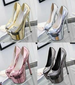 New-Sexy-Nightclub-Stiletto-High-Heels-Pumps-Patent-Leather-Platform-Shoes-Size