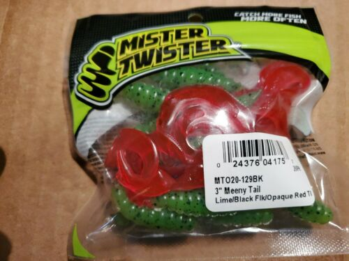 Mister Twister 3 Inch Meeny Tail Lime//Black Flacked//Opaque Red Tail 20 Pack