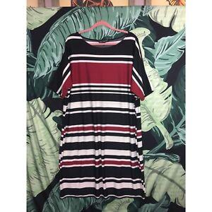 Karin Stevens Women\'s Plus Size Black, Red & White Striped Dress ...