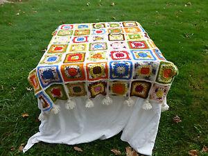 VTG Granny Square AFGHAN BLANKET Crochet Multi-Color White 1970s retro 46 X 66