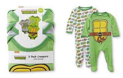 NEW Baby Teenage Mutant Ninja Turtles Long Sleeve Bodysuit Sizes 3-6 /& 6-9M TMNT