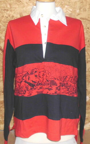 show original title Details about  /Lucky Rider Mens Long Sleeve Polo Shirt Red//Black Size S