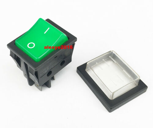 DEFOND DRH-2415-3 Rocker Switch 4 Pins 2 Positions Green With Waterproof Cover