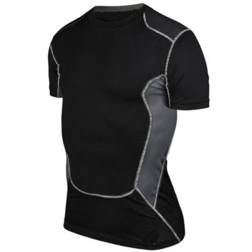 Mens Black Compression Base Layer Sport Gym T-Shirt Vest Tight Tops Shorts Pants
