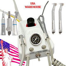 Portable Deliver Dental Air Turbine Unit + 2*High Low Speed Handpiece Kit 4H USA