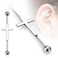 Acier Chirurgical Cross Haltère Industrielle / Piercing Industriel Bar