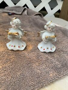 Set of 2 Vintage Japan Angel Figurines with Book  Christmas K8
