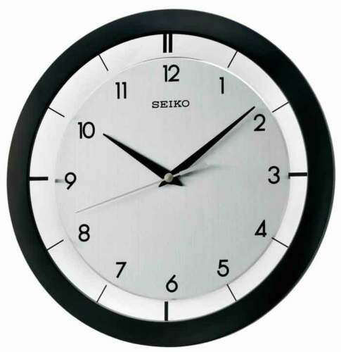 Seiko Modern Black White Metallic Second Hand Wall Clock QXA520KLH