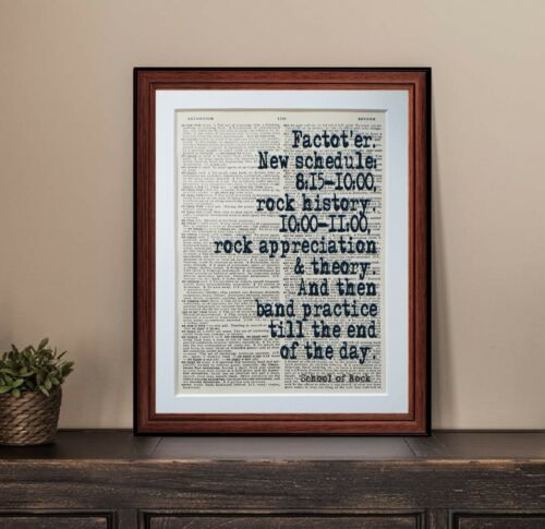 School Of Rock quote dictionary page quotes art print reading books  gift