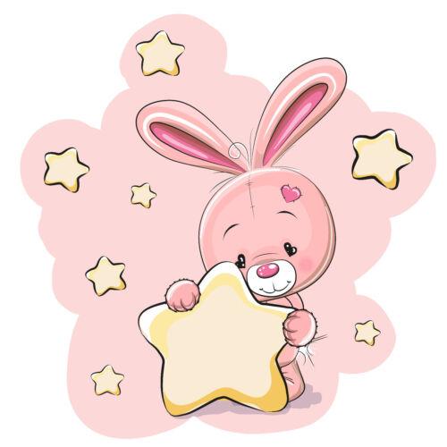 KB05 Bügelbild Bügeltransfer Aufbügler Sweet Hase Rabbit Star Sterne DIN A4 A5