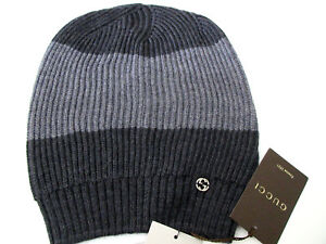 1d5c1ce06db Gucci Men s Wool Gray Interlocking GG Slouch Beanie ski Hat ONE SIZE ...