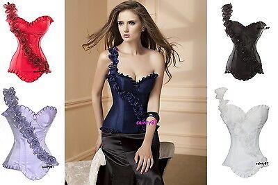 Sexy Burlesque Corset & Floral Pattern Shoulder Strap Various Colours HALLOWEEN