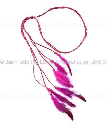 Feather 70s 80s Disco Plaited Braided Head Band  Neon Boho Hippy  Hair Extension