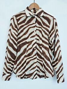18990478f674 Michael Kors zebra print women s cotton blouse button shirt top size ...