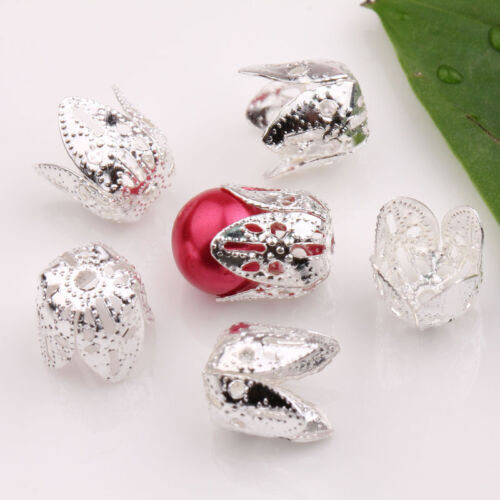 25//50PCS Silver Plated Leaf Shape Metal Bead Caps End Cap 11X10mm Jewelry DIY