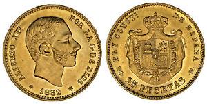 25-GOLD-PESETAS-25-PESETAS-ORO-ALFONSO-XII-MADRID-1882-AU-SC-SCARCE-ESCASA