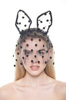 Cute Polka-dotted Black Lace Veil Mask With Piglet Ears Ll005bk