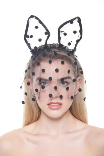 Cute Polka-Dotted Black Lace Veil Mask with Piglet Ears