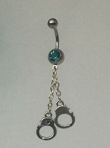 HANDCUFF-Belly-Bar-dangle-Choice-of-colour-UK-made-Free-1St-Class-Post