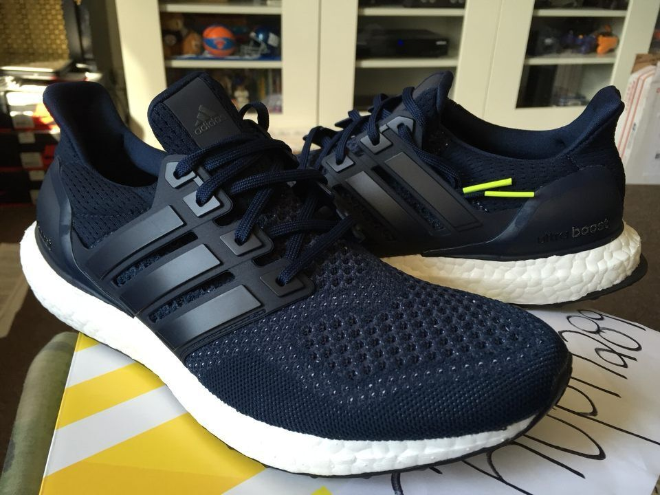 Adidas Ultra Boost M ESM Collegiate Navy Neon White Running S77415 Black Triple