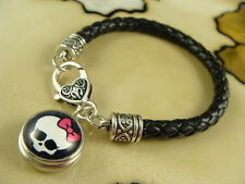 Skull with a Pink Bow snap button on Black leather jewelry gift bracelet