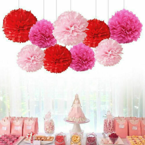 9 X Gemischt Seidenpapier Pompon Pom Poms Wandbehang Girlande Hochzeitsparty Neu