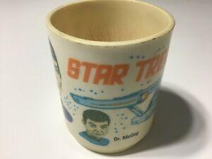 Vintage Star Trek Plastic Coffee Mug 1975 Deka Mr. Spock Captain Kirk Enterprise