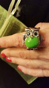 Silver-Green-Enamel-and-Rhinestones-Owl-Bozhi-Quartz-Watch-Ring-New
