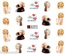 Nail Art Water Decals Stickers Lips Portrait Marilyn Monroe Gel Polish (A491)