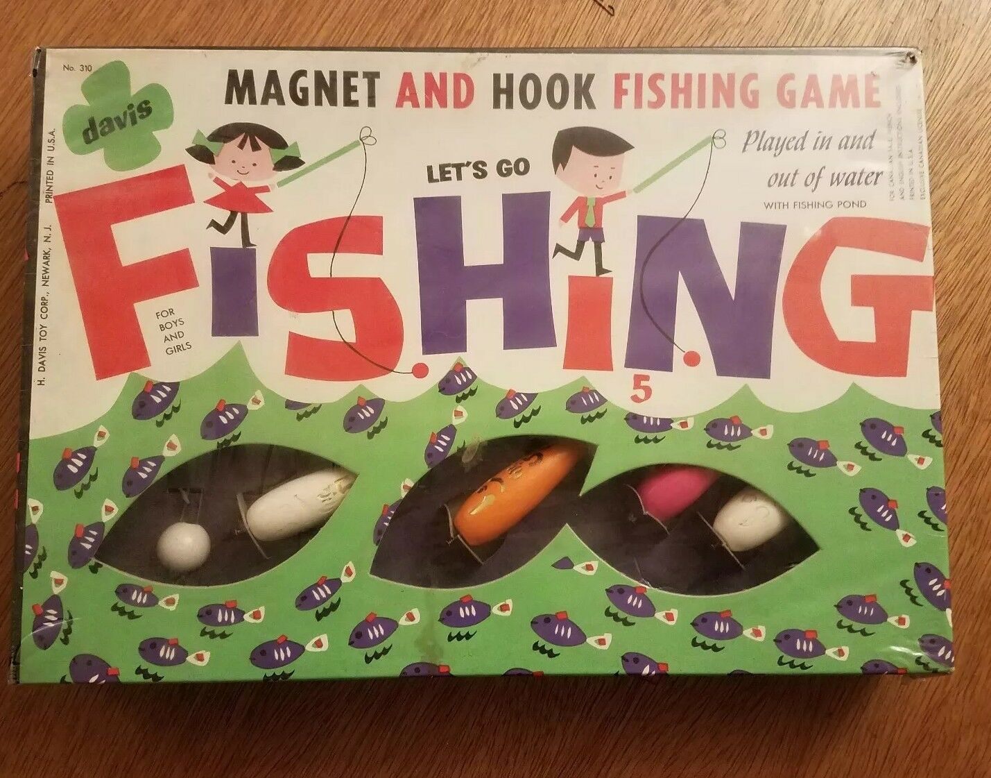 Vintage NIP Let's Go Fishing Magnet and Hook Fishing Game Sealed RARE
