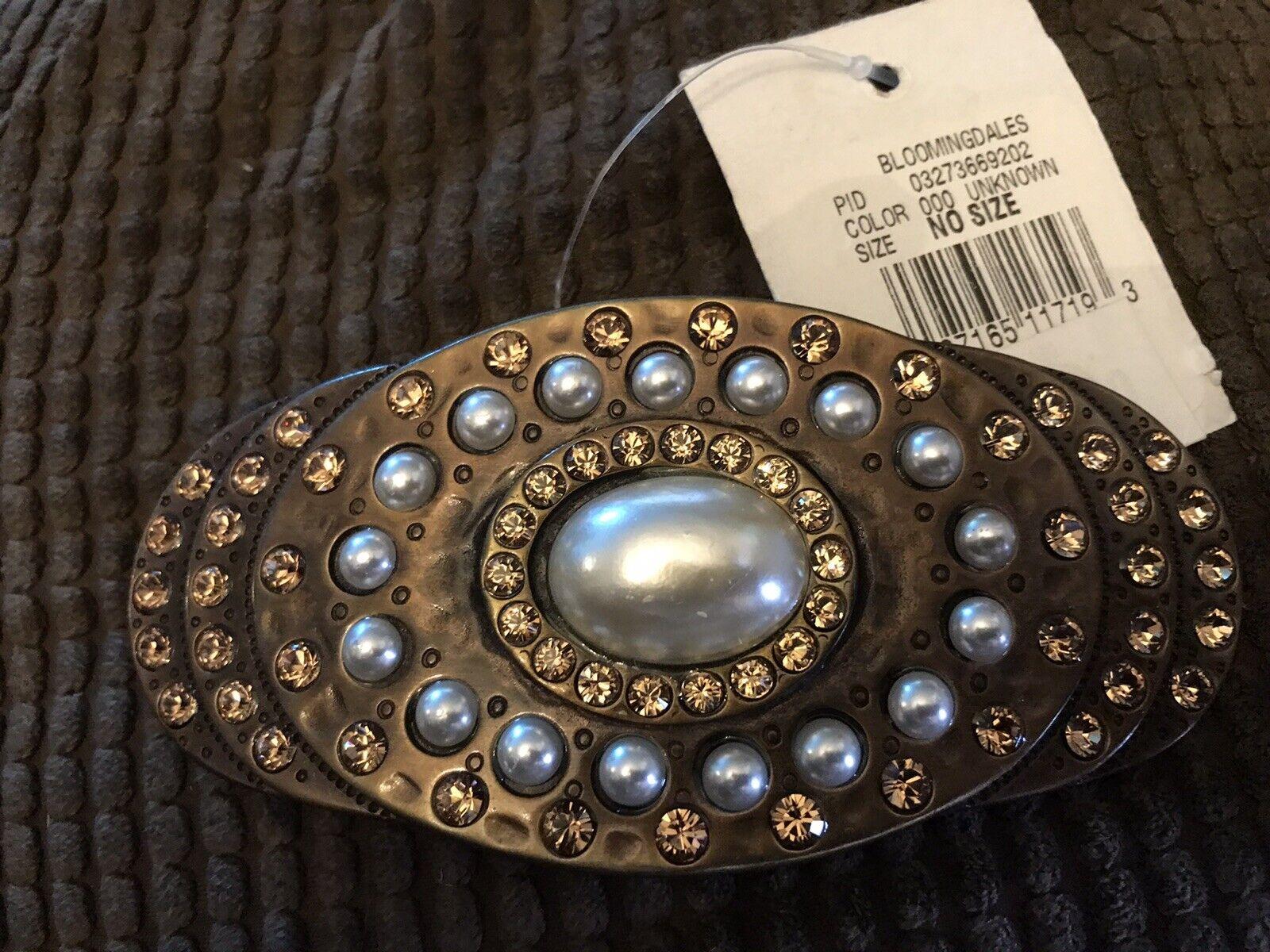 NEW Bloomingdales BLING Rhinestones/Pearls -BELT BUCKLE -Metal Made in Italy