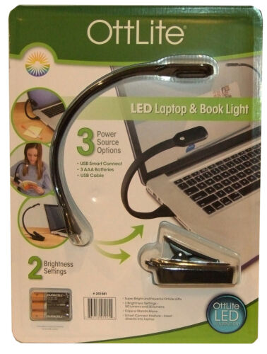 OttLite LED Laptop Book Reading Light with Smart Connect Batteries Or USB