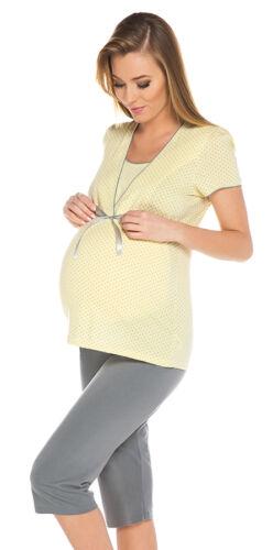 2 in1 Maternity /& nursing 100/% cotton 2-peace Pyjama Set size breastfeeding 7018