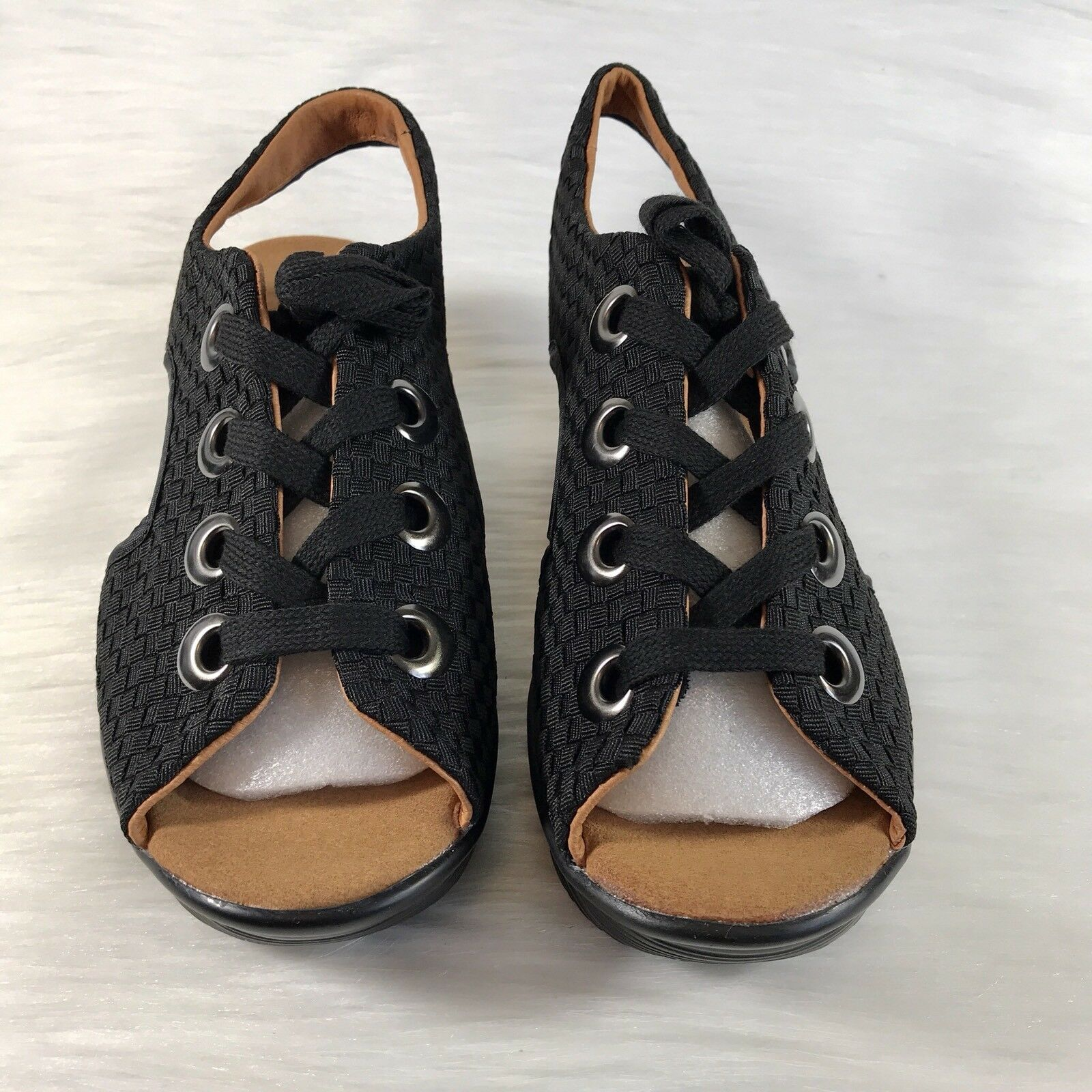 Bernie Mev Marcelo Women's Wedge Wedge Wedge Sandals Black Textile Lace Up Size 40 US 9.5-10 4796a7