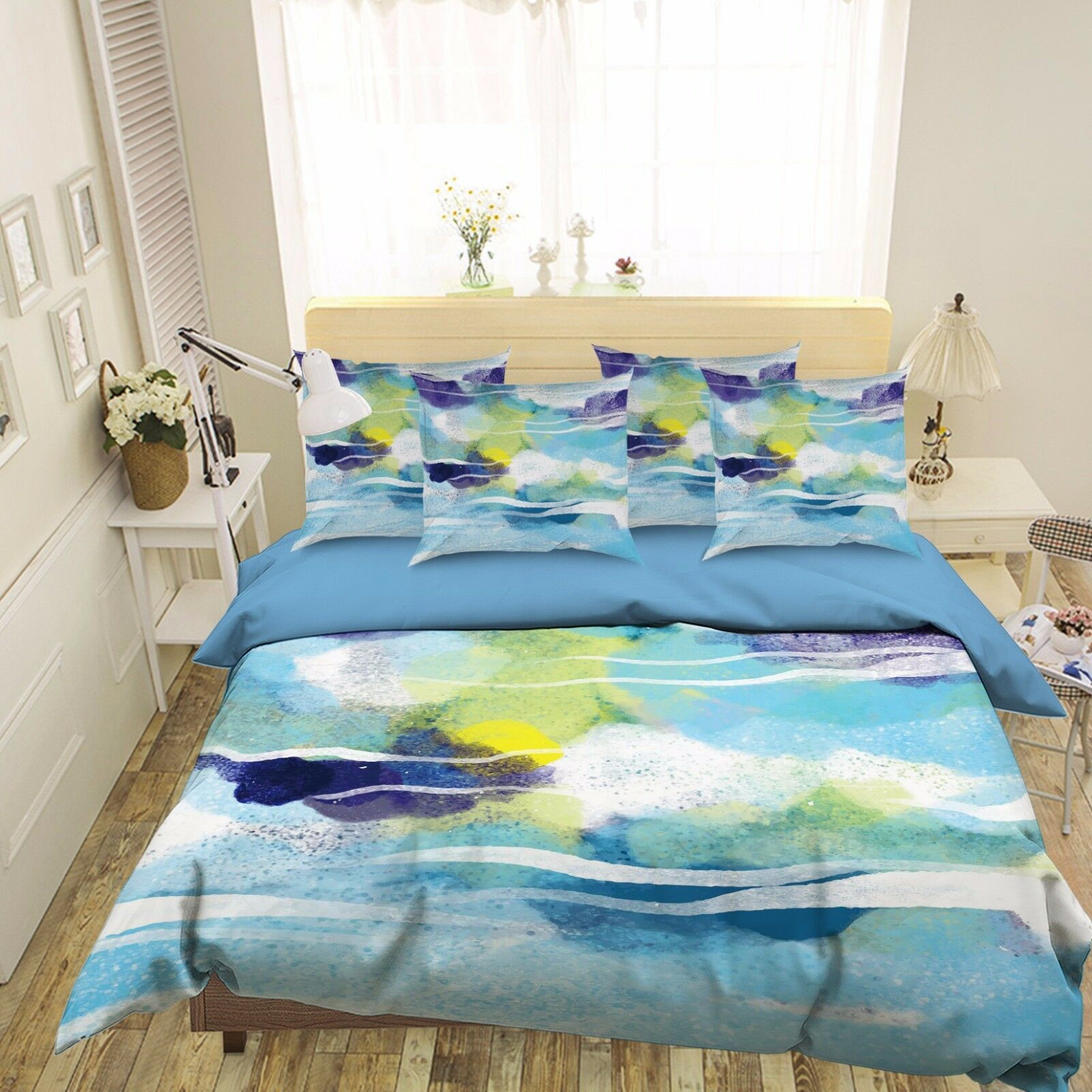 3D Abstract Watercolors 40 Bed Pillowcases Quilt Duvet Cover Set Single Queen CA