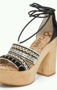 0568c05ab93 Details about Sam Edelman Mel Beaded Platform Embroidery Detail Sandals  Black White 9   39