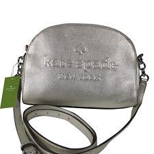 Kate Spade Larchmont Avenue Logo Tori Crossbody Bag Metallic Silver WKRU5728