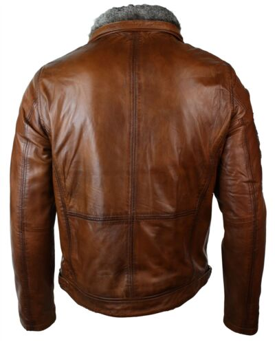 Mens Washed Rust Tan Brown Removable Fur Collar Leather Jacket Slim Fit Zipped