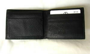 DAVID-KING-Boston-Black-Leather-Flipfold-Passcase-Bifold-Mens-Wallet-NEW-NWT