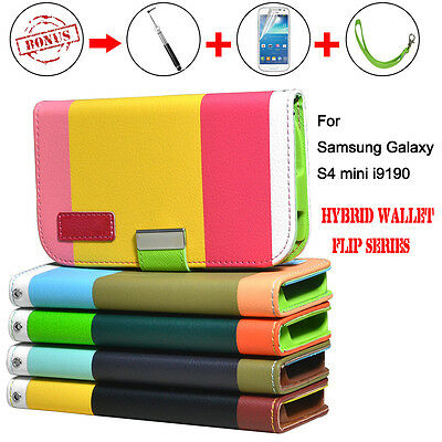 Hybrid Flip Leather Wallet Case Stand Cover For Samsung Galaxy S4 Mini I9190