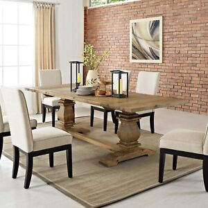 Rustic Farmhouse Brown Pine Wood Extendable Trestle Dining Table