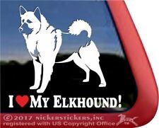 Love My Norwegian Elkhound Bumper Sticker or Helmet Sticker D2493 Dog Bone Decal