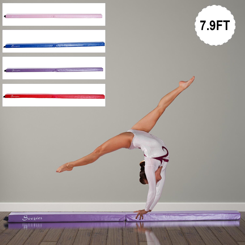 8FT Folding Floor Balance Beam Foam Gymnastic Training Low  Height Beam 3 color  online fashion shopping