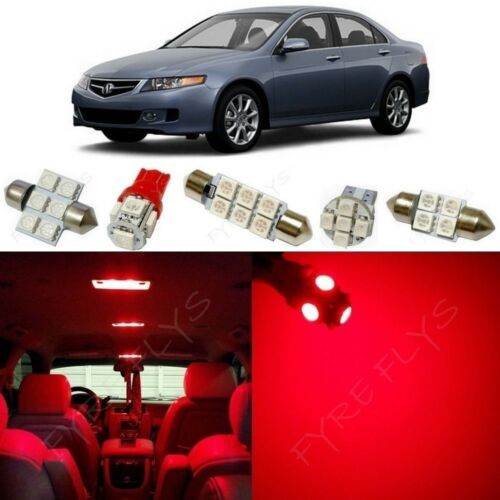 12x Red LED Interior Lights Package Kit for 2004-2008 Acura TSX Tool AT2R