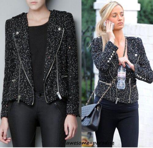 Jacket Fantasy avec Black Small Extra fermeture glissière à Zara Xs Blazer Fabric IXxadxZn