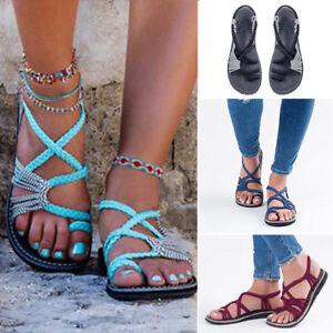 a323fe7ea5e5c Womens Bohemia Flats Lace Up Sandals Casual Summer Beach Shoes Flip ...