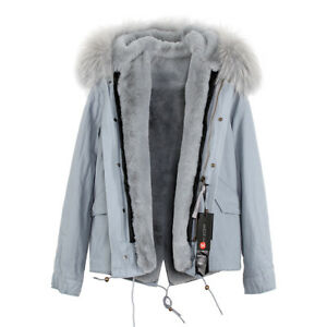 Women-039-s-Luxury-Colored-Hood-Extra-BIG-100-REAL-FUR-Coat-Jacket-Parka